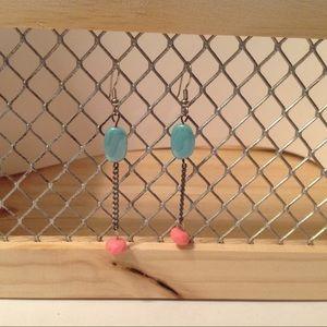 Silver Tone Chain Dangle Earrings